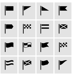 Black flag icon set vector