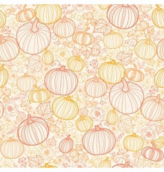 Thanksgiving line art pumkins seamless pattern vector
