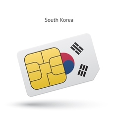 South korea mobile phone sim card with flag vector