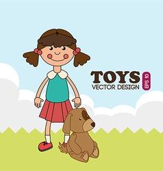 Toys design over landscape background vector