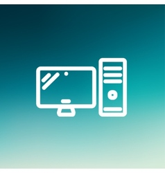 Cpu and monitor thin line icon vector