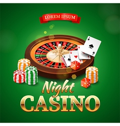 Casino background with roulette wheel chips game vector