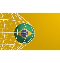 Brazil flag on soccer ball in the net vector