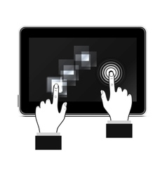 Man hand touching screen vector
