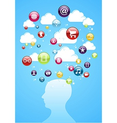 Human head cloud storage concept vector