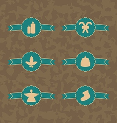 Set christmas decoration vintage emblems vector