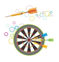Darts with dartboard vector