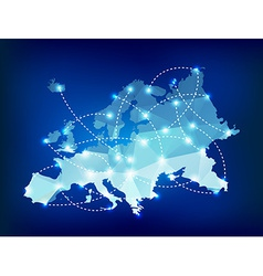 Europe map polygonal with spot lights places vector