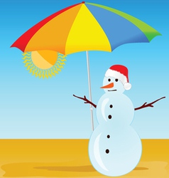 Snowman on the beach vector