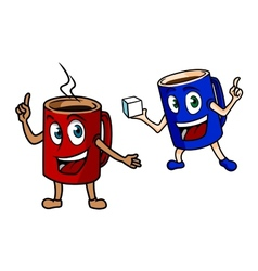 Two happy cartoon mugs of coffee vector