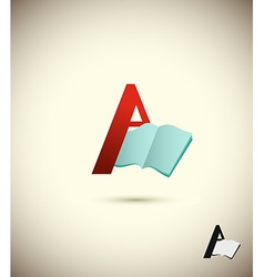 Logo letter a with an open book concept design for vector