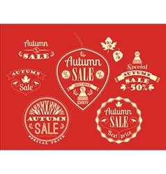 Set of autumn sale labels and signs vector