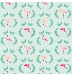 Flamingo bird background - retro seamless pattern vector