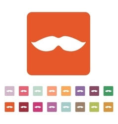 The moustache icon whisker symbol flat vector
