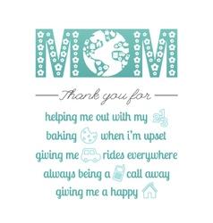 Thank you mom vector