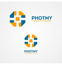 Camera shutter design logo vector