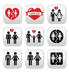 Couple breakup divorce buttons set vector