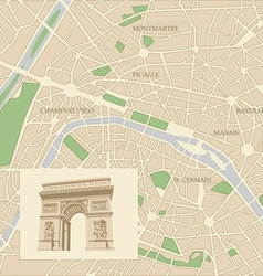 Map of the city of paris and triumphal arch vector