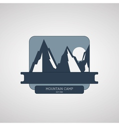 Mountain camping wilderness adventure badge vector