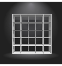 Empty white bookshelf vector