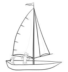 Sailing boat with a people contours vector