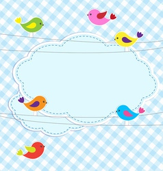 Frame with birds on wires vector
