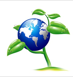 Earth and small plant vector