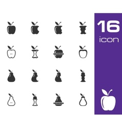 Black apple and pear icons set vector