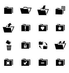 Black folder icon set vector