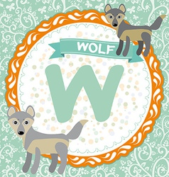 Abc animals w is wolf childrens english alphabet vector
