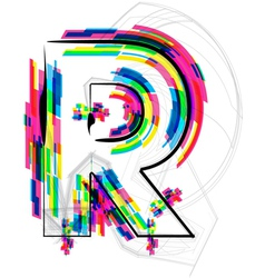 Colorful font letter r vector
