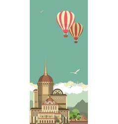 Hot air balloon in sky over the castle vector