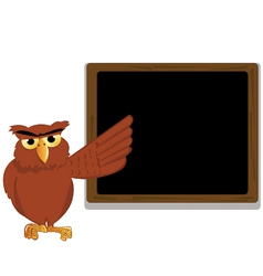 Funny owl pointing a blackboard vector