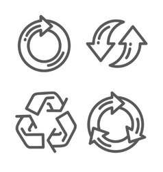 Set of recycle arrow thin line icon vector