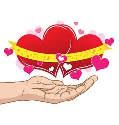 Couple heart on hand vector
