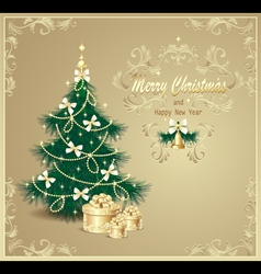 Post card with christmas tree and gifts vector