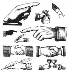 Set of antique hands engravings vector