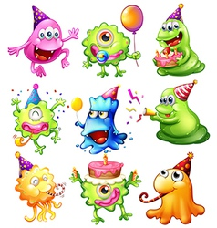 Happy monsters celebrating a birthday vector