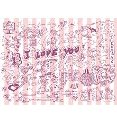 Love doodles set vector