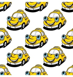 Cartoon taxi car seamless pattern vector