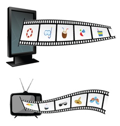 Film tape with beach stuff and tv vector