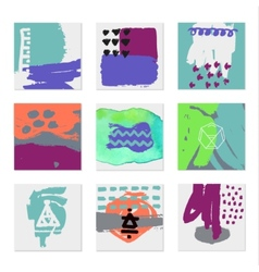 Set of 9 creative universal cards hand drawn vector
