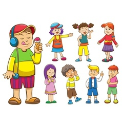 Set of cartoon kids vector
