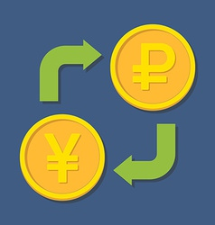 Currency exchange yenyuan and ruble vector