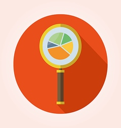 Business analysis symbol with magnifying glass ico vector