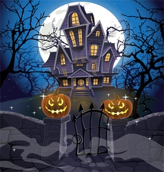 Happy halloween cozy haunted house behind a wall vector