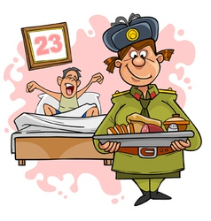 Woman in military uniform with a tray of food vector