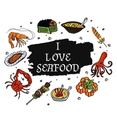 I love seafood on a pure white background vector