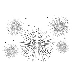 Fireworks black and white vector