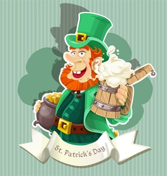 Cute leprechaun with beer and pot of gold - poster vector